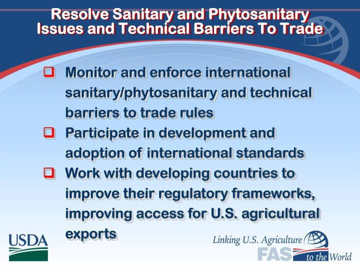 Resolve Sanitary and Phytosanitary