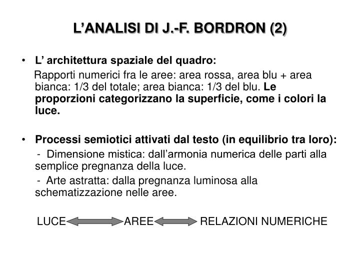L'ANALISI DI J.-F. BORDRON (2)