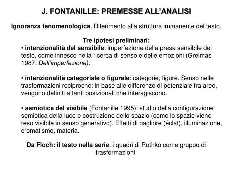 J. FONTANILLE: PREMESSE ALL'ANALISI