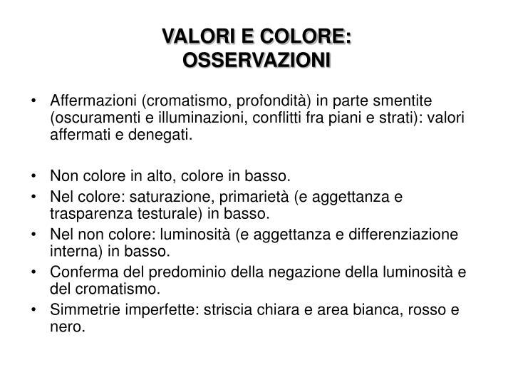 VALORI E COLORE: