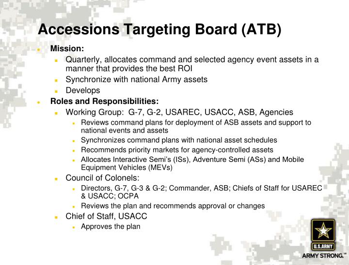 Accessions Targeting Board (ATB)