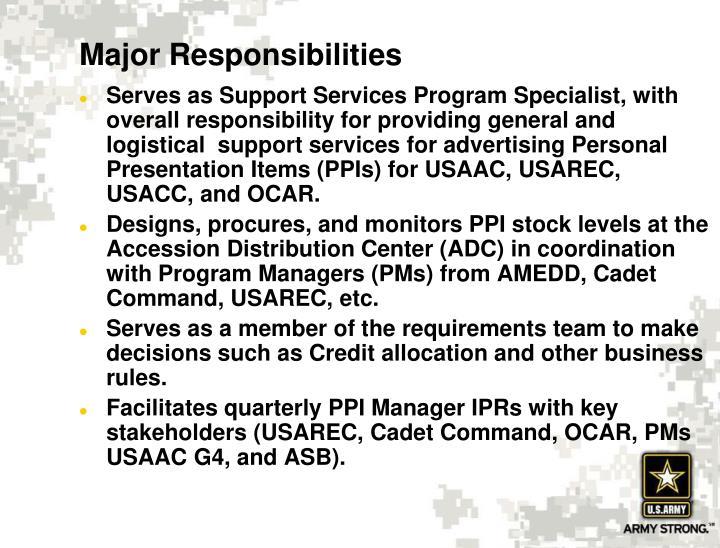 Major Responsibilities