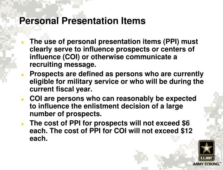 Personal Presentation Items