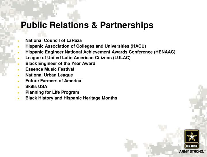 Public Relations & Partnerships