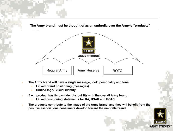 "The Army brand must be thought of as an umbrella over the Army's ""products"""