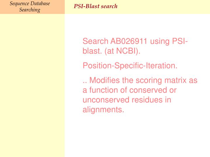 PSI-Blast search