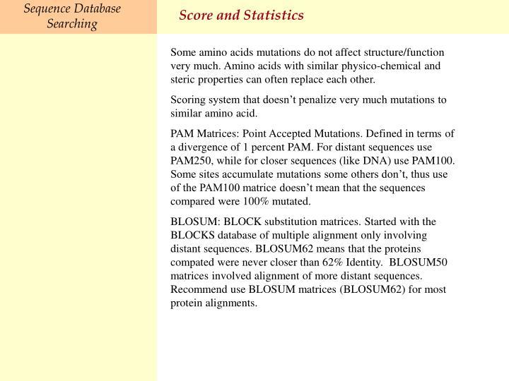 Score and Statistics
