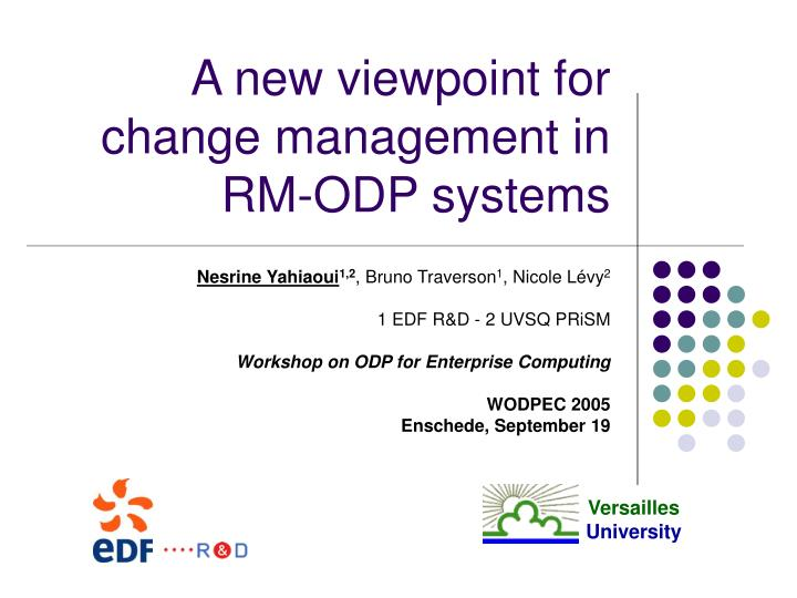 A new viewpoint for change management in rm odp systems