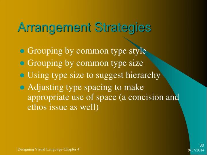 Arrangement Strategies