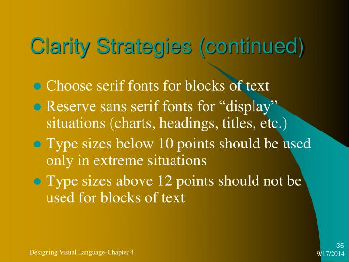 Clarity Strategies (continued)