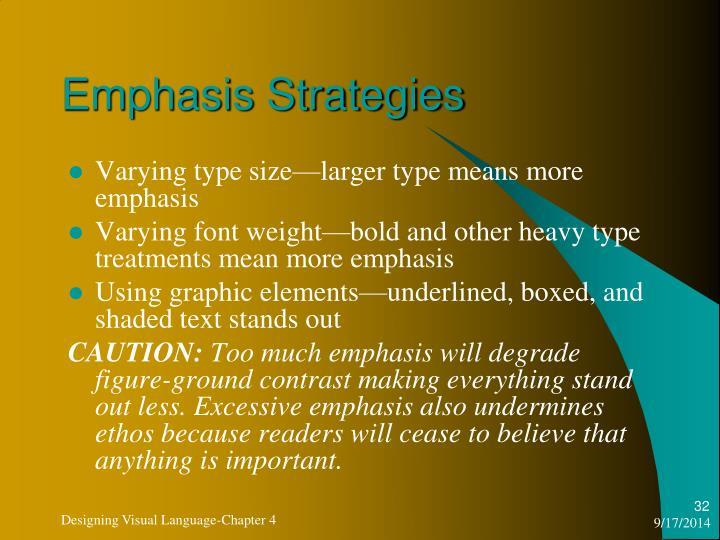Emphasis Strategies