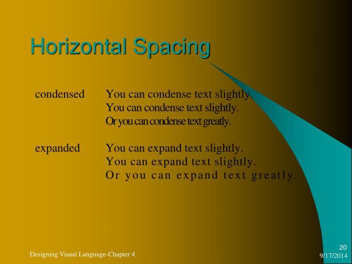Horizontal Spacing