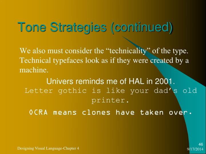 Tone Strategies (continued)