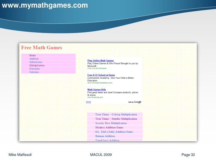 www.mymathgames.com
