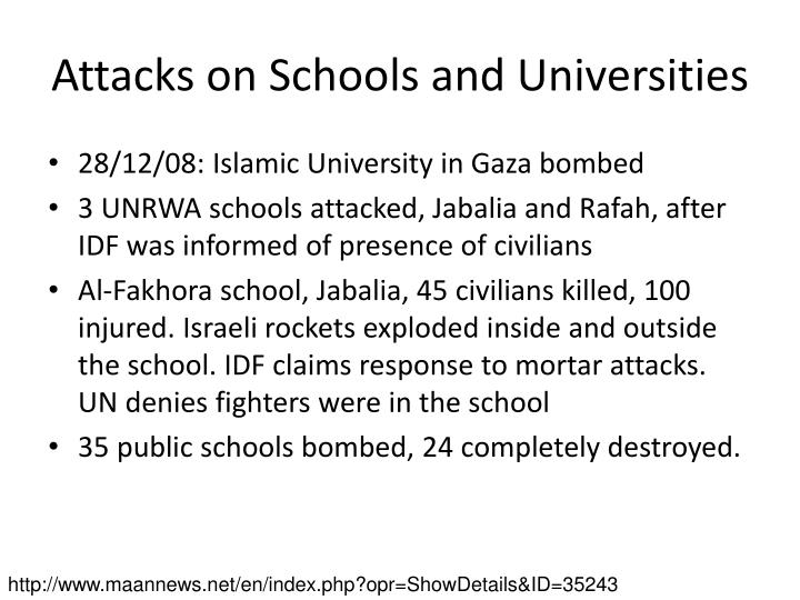 Attacks on Schools and Universities