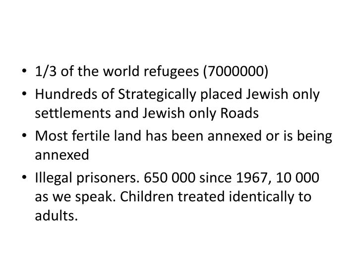 1/3 of the world refugees (7000000)