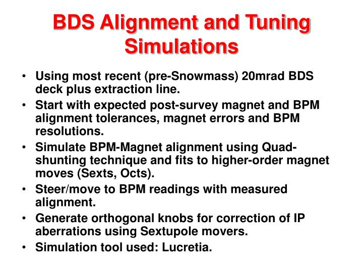 Bds alignment and tuning simulations