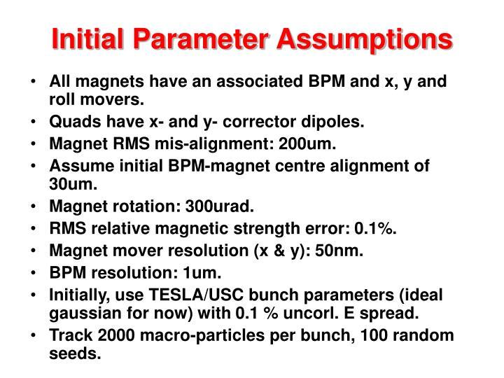 Initial Parameter Assumptions