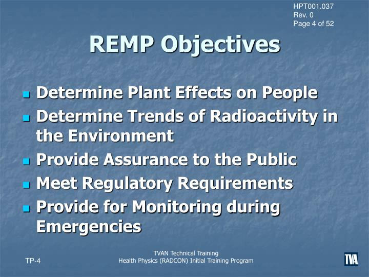 REMP Objectives