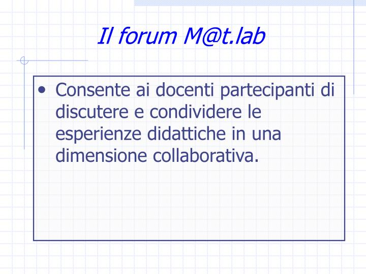 Il forum M@t.lab