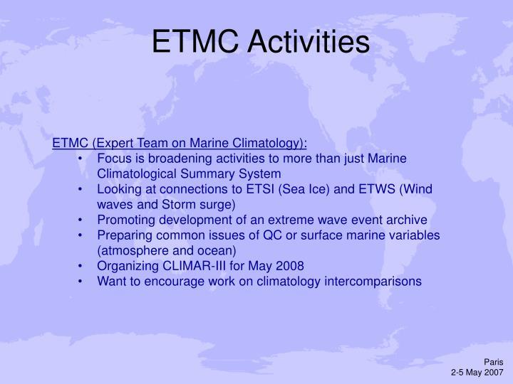 ETMC Activities