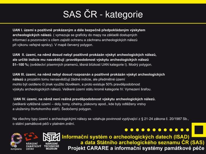 SAS ČR - kategorie