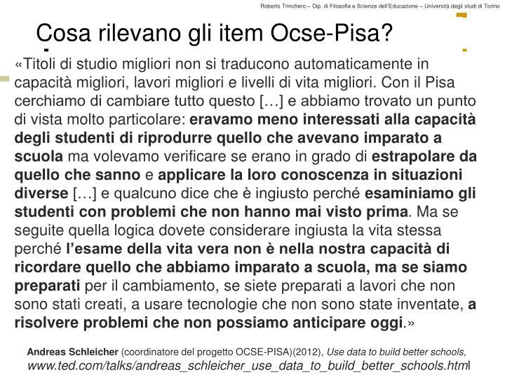 Cosa rilevano gli item Ocse-Pisa?
