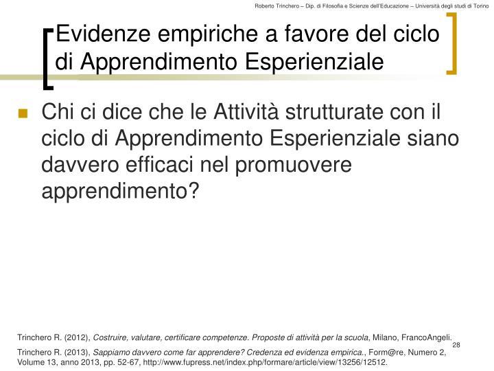 Evidenze empiriche a favore del ciclo di Apprendimento Esperienziale