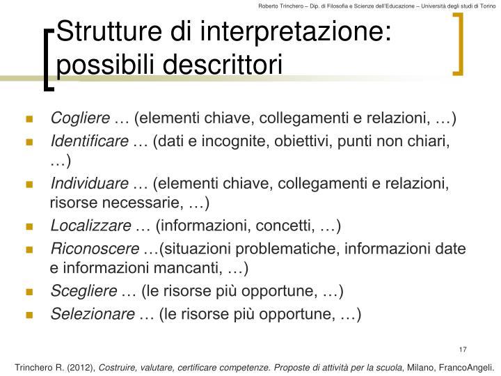 Strutture di interpretazione: possibili descrittori