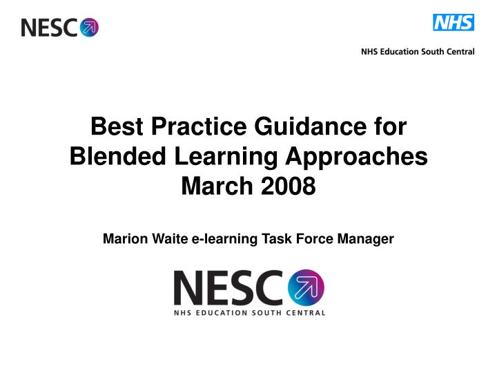 Best Practice Guidance for Blended Learning Approaches