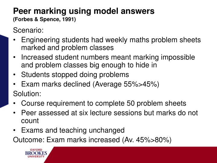 Peer marking using model answers