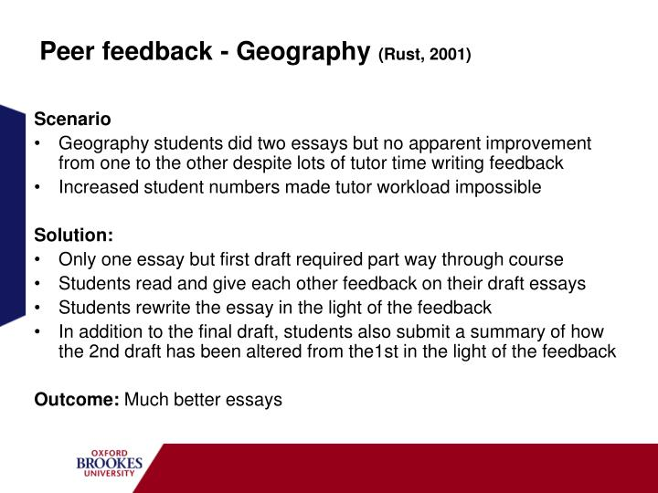 Peer feedback - Geography