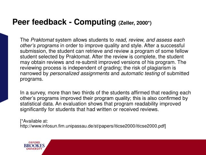 Peer feedback - Computing