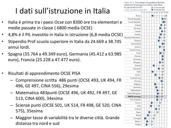I dati sull'istruzione in Italia