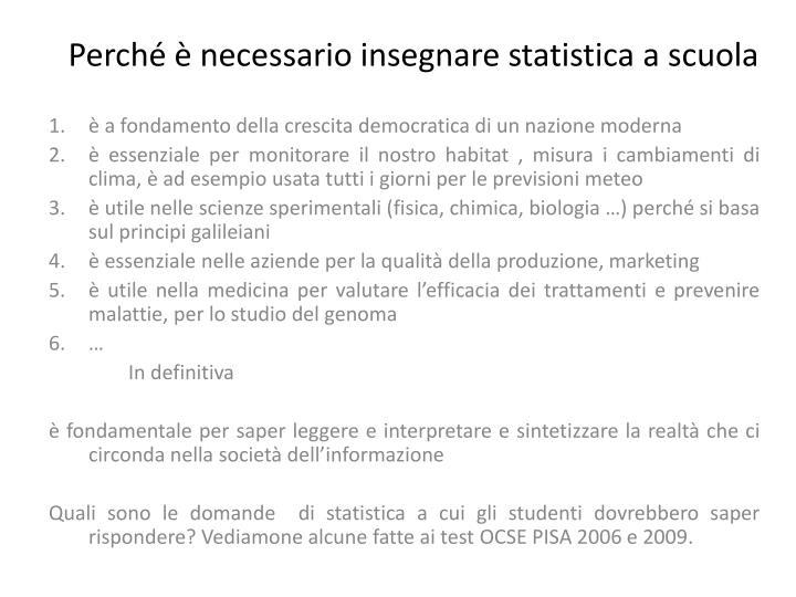 Perché è necessario insegnare statistica a scuola