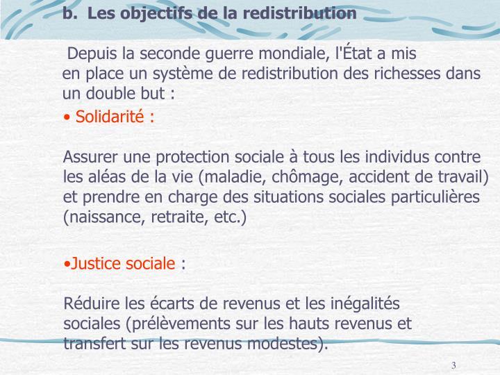 Les objectifs de la redistribution