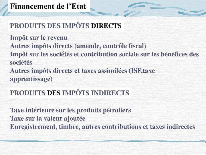 Financement de l'Etat