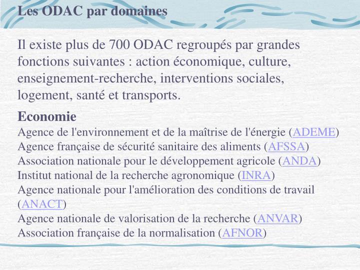 Les ODAC par domaines