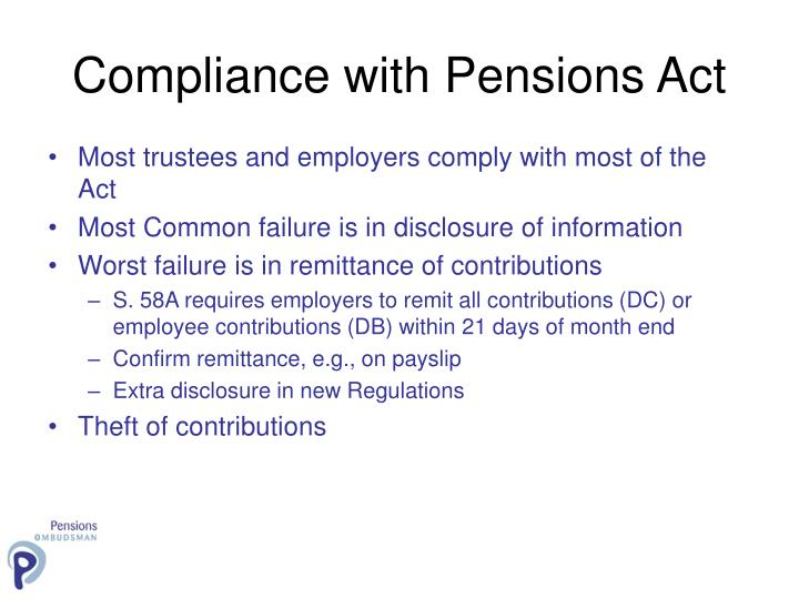 Compliance with Pensions Act