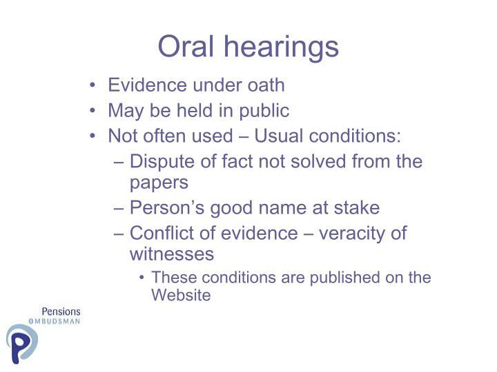 Oral hearings