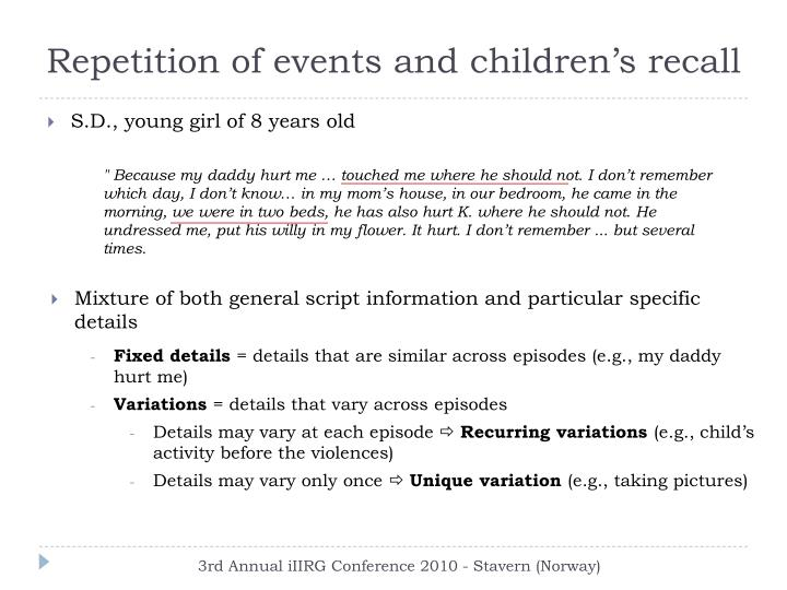 Repetition of events and children's recall