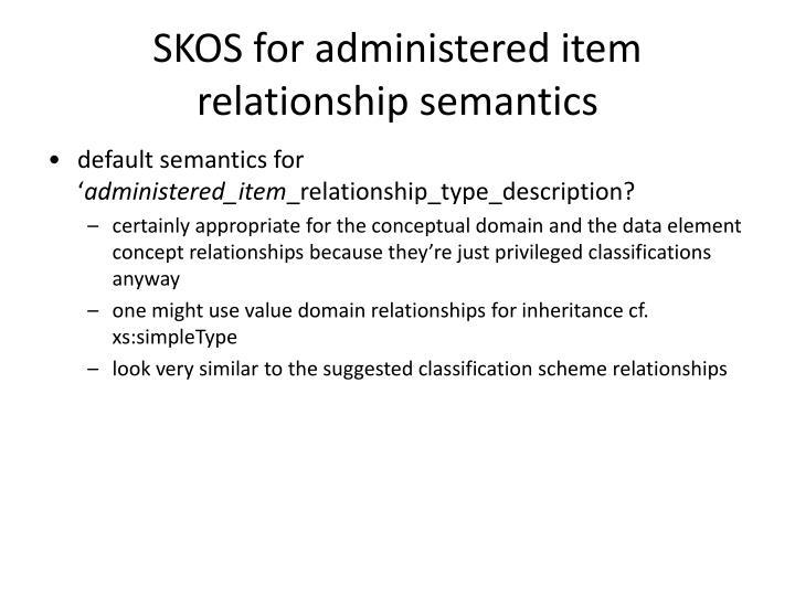 SKOS for administered item relationship semantics