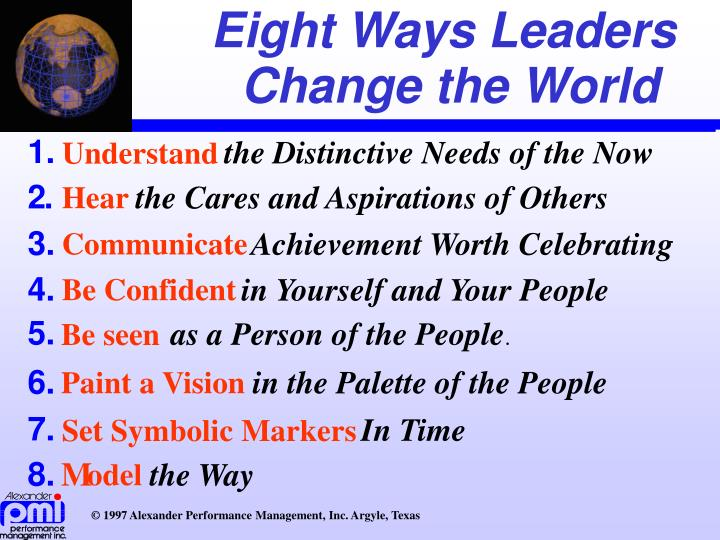 Eight Ways Leaders