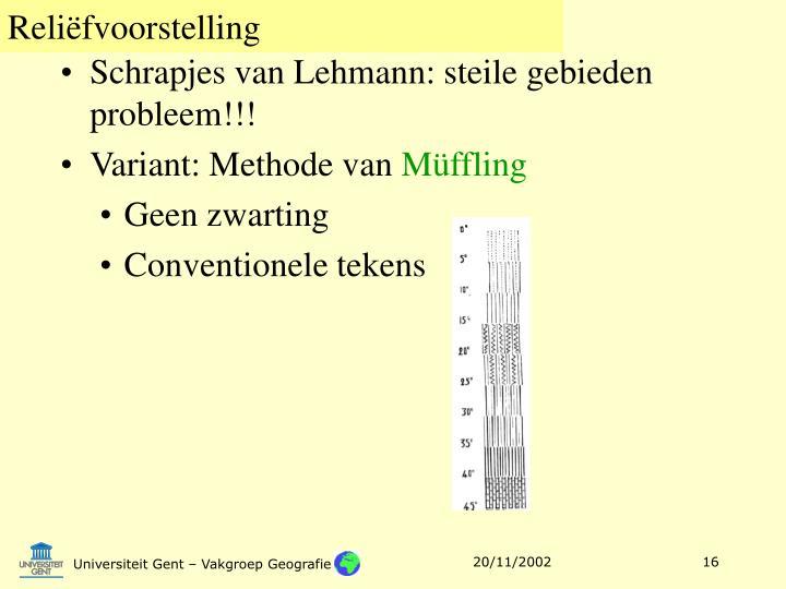 Schrapjes van Lehmann: steile gebieden probleem!!!