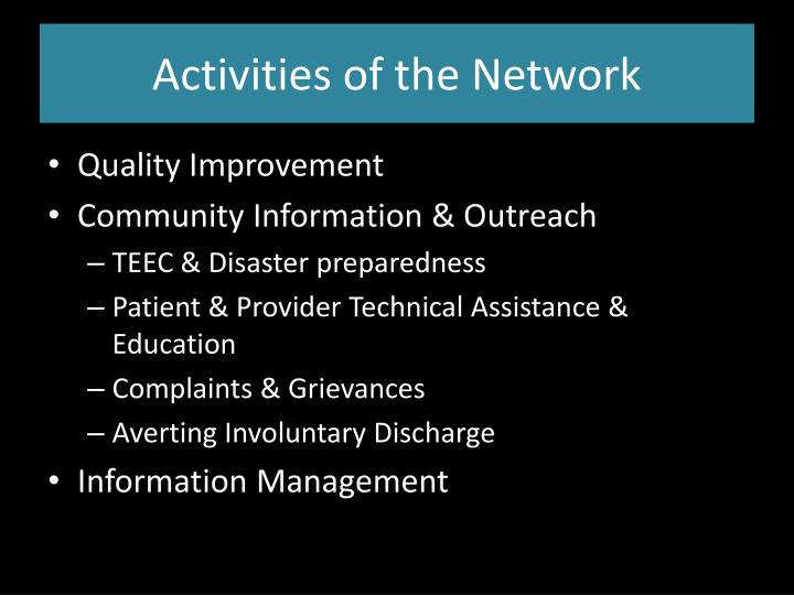 Activities of the Network
