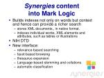 synergies content into mark logic