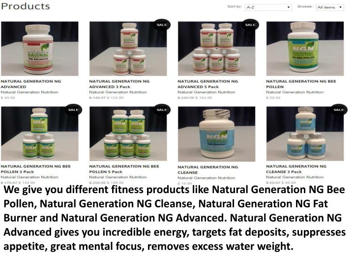 We give you different fitness products like Natural Generation NG Bee Pollen, Natural