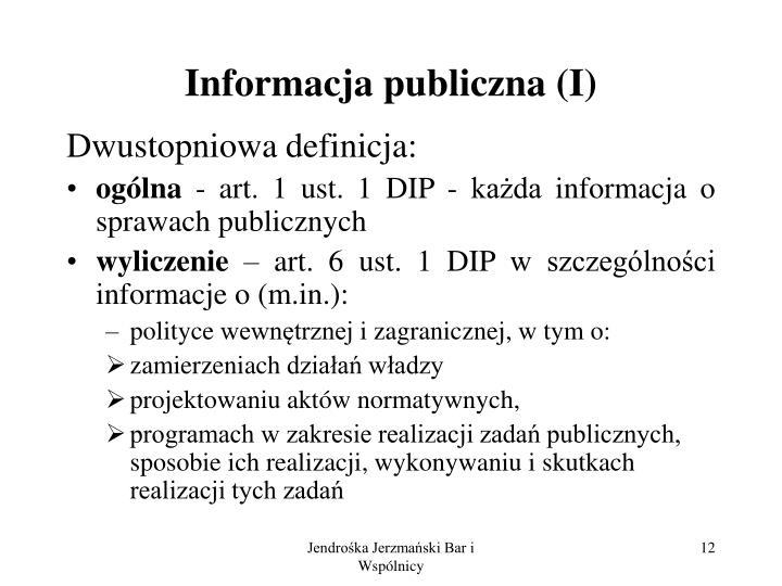 Informacja publiczna (I)