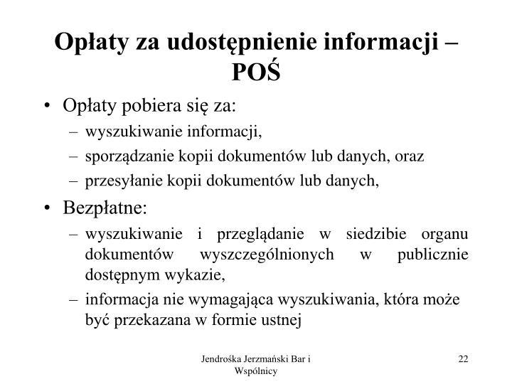 Opłaty za udostępnienie informacji