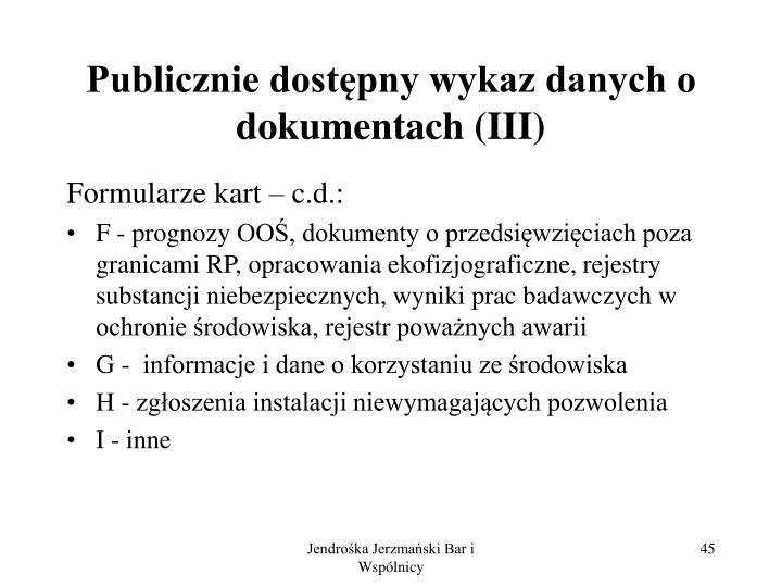 Publicznie dostępny wykaz danych o dokumentach